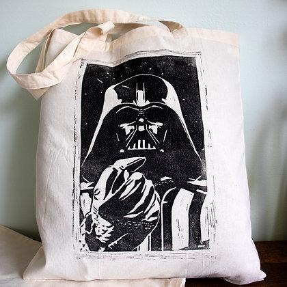 Darth vader hand printed lino cut bag.