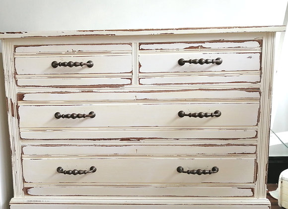 Hand painted white drawers with shabby chic details