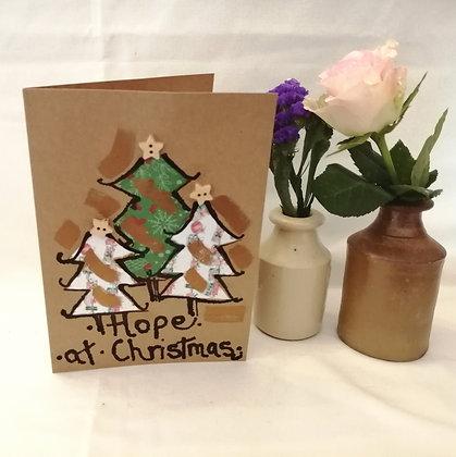 Hope hand drawn Christmas card on KraftCard