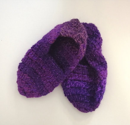 Purple sparkly crochet slippers