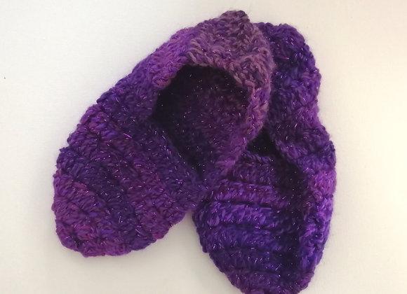 Purple sparkly crochet slippers