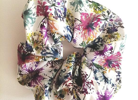 Floral ink print scrunchie
