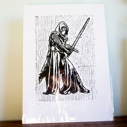 Large Kylo Ren from Star wars lino print