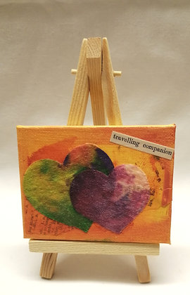 Travelling companion. Textile fine art mini canvas.
