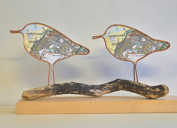 Morecambe map bird sculpture