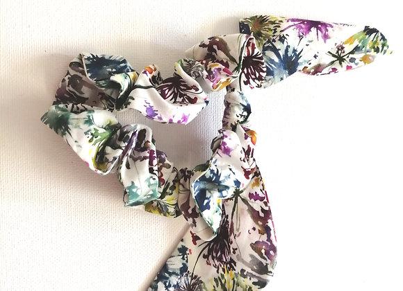 Ink floral scrunchie