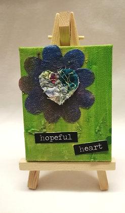 Hopeful heart textile fine art mini canvas