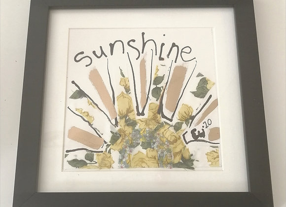 Sunshine hand drawn ink illustration with Liberty lawn fabric detail framed pict