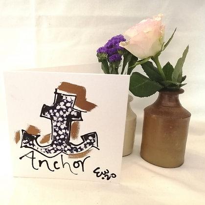 Anchor hand drawn card