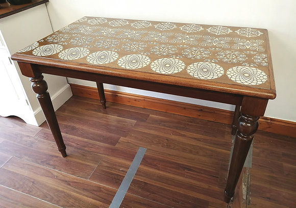 Hand stencilled table