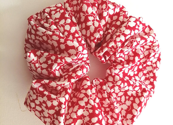 Red and white floral scrunchie