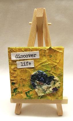 Discover Life  textile fine art mini canvas