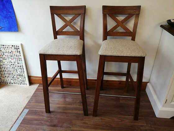 Pair of newly upholstered bar stools