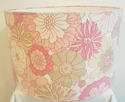 Large retro floral print light shade