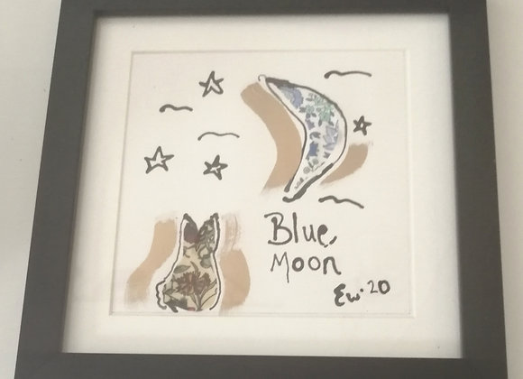 Blue Moon hand drawn ink illustration with Liberty lawn fabric detail framed pic