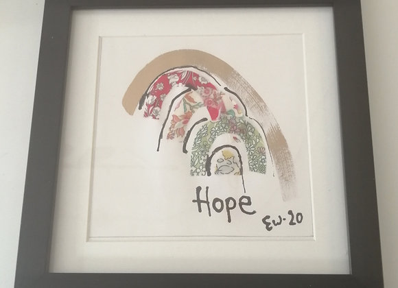 Hope Hand drawn ink framed picture with Liberty lawn fabric detail