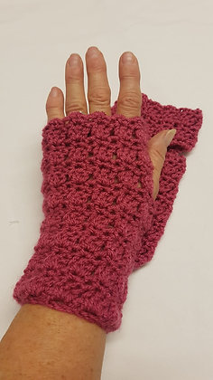 Rose pink fingerless gloves