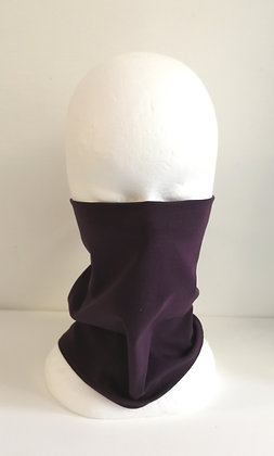 Aubergine Jersey cowl/mask. Medium to large