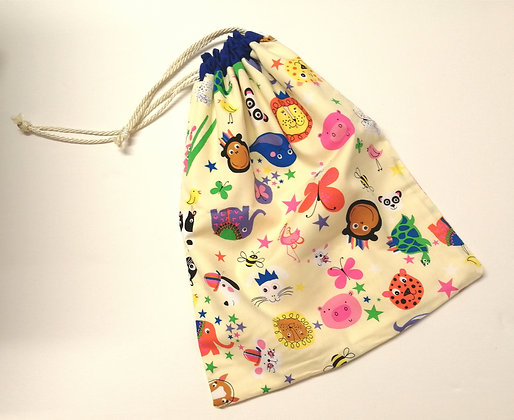 Cream animal pattern drawstring bag