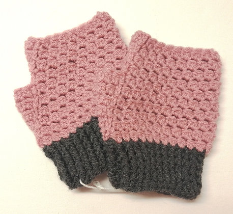 Coloured fingerless gloves with grey panel cuffs.