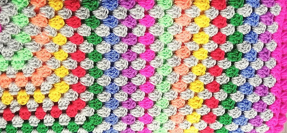 Hand crocheted blanket bright coloured