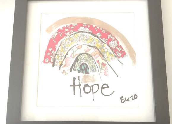 Hope Hand drawn ink illustration with Liberty lawn fabric detail framed picture
