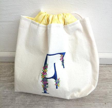 Personlised monogrammed drawstring bag
