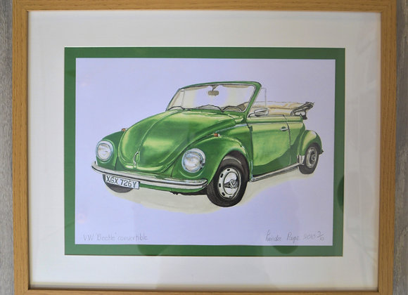 Beetle car print by Linda Page