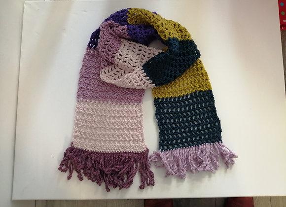 Fringed crochet scarf