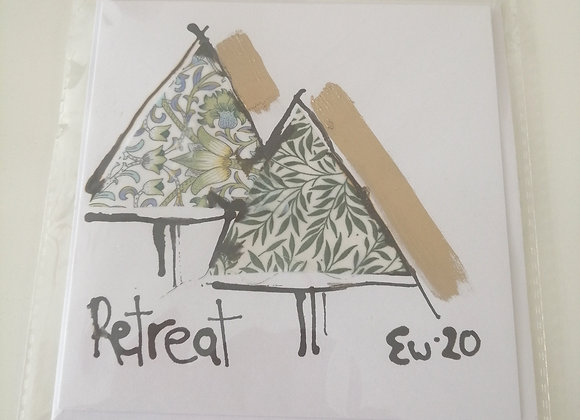 """Retreat"" hand drawn ink illustration with Liberty lawn fabric detail"