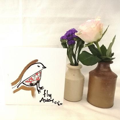 Fly away hand drawn card