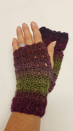 Purple green  ombre fingerless gloves