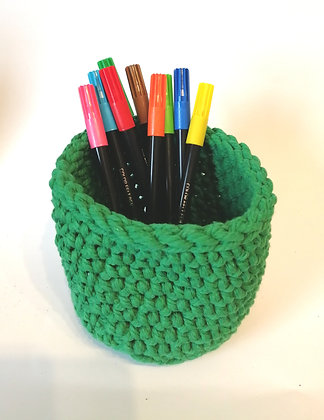 Beautiful green hand crocheted basket ideal for pens.