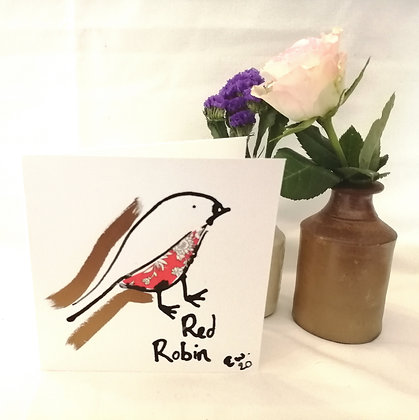 Red Robin hand drawn card.