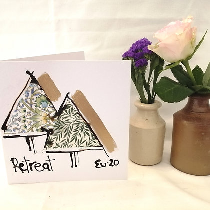 Retreat hand drawn card with ink illustration and Liberty lawn fabric details