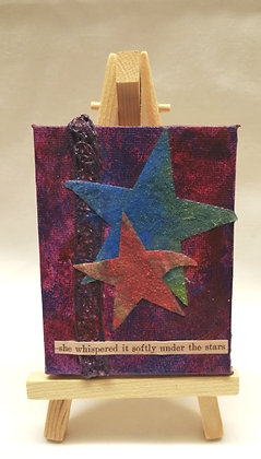She whispered it softly under the stars. Textile fine art mini canvas.