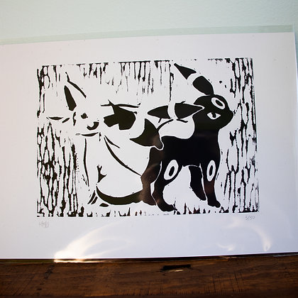 Unframed A4 lino print of Espeon and Umbreon from Pokemon