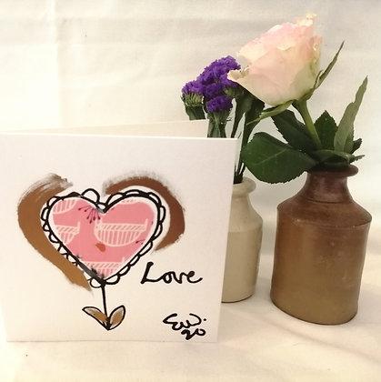 Pink love hand drawn card.