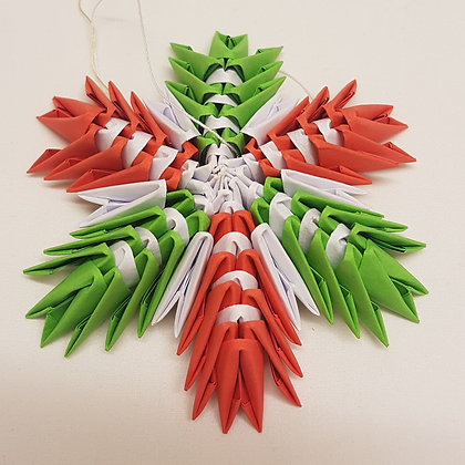 Red and green large origami snowflake