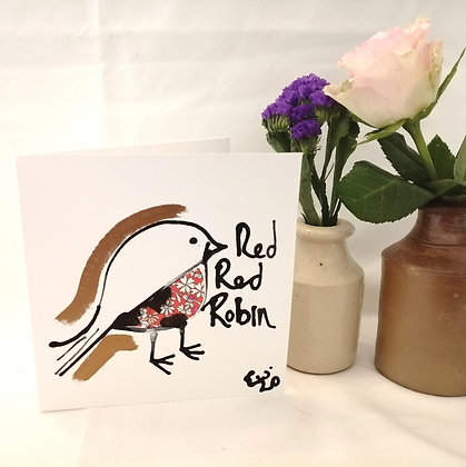 Red red Robin hand drawn card by the Seaside Canvas
