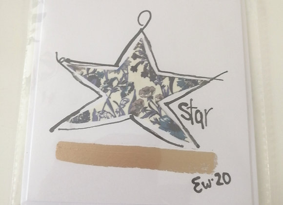 """""""Star"""" hand drawn illustration with Liberty lawn fabric detail"""