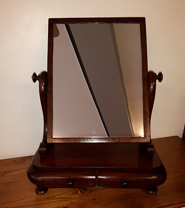 Freestanding Mahogany Mirror with Jewellery Drawers