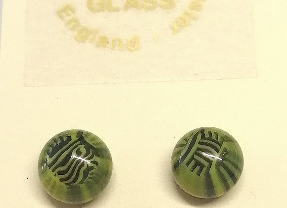 Green and black fused glass earrings with  sterling silver backs