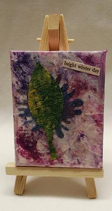 Bright winter day. Textile fine art mini canvas.