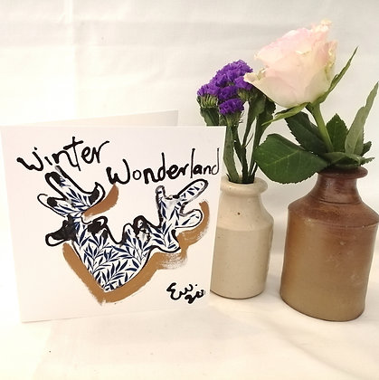 Winter wonderland hand drawn card with ink illustration and Liberty lawn fabric