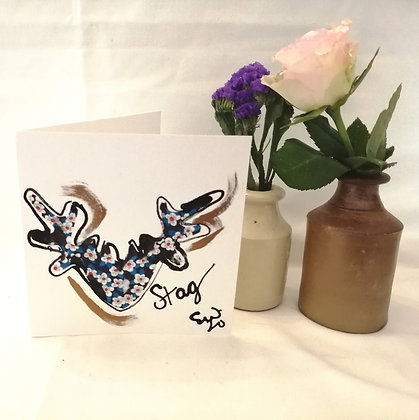 Stag hand drawn card with ink illustration and Liberty lawn fabric details