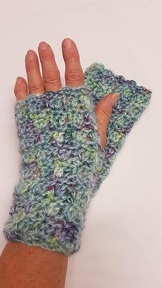 Blue and green multicoloured fingerless gloves