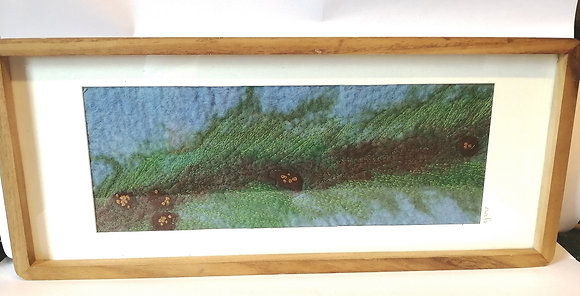Along the pine branch. hand felted and machine stitched picture