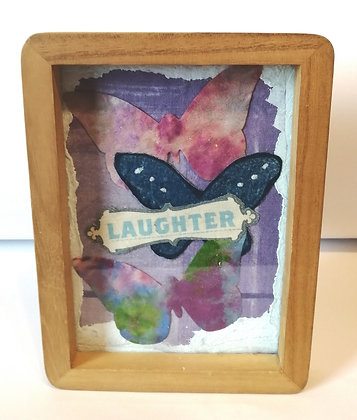 Laughter and butterfly mixed media collage