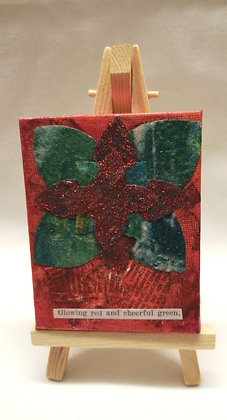 Glowing Red and Cheerful Green textile fine art mini canvas